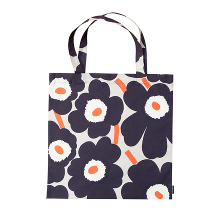 Marimekko - Pieni Unikko Cotton Bag, white / navy blue / orange