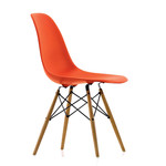 Vitra - Eames Plastic Side Chair DSW (H 41 cm), yellowish maple / poppy red, felt glides(white)