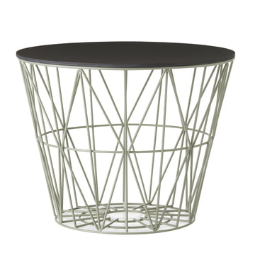 Wire Basket in dusty green with top in stained black by ferm Living