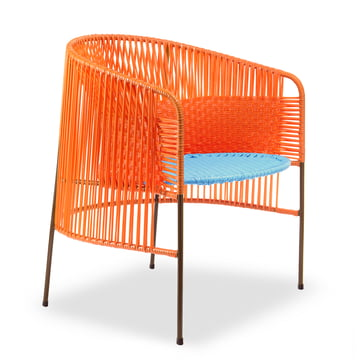 ames - caribe Lounge Chair, orange / turquoise / brown